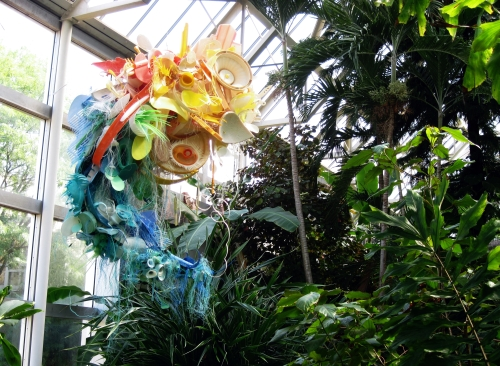 Sculpture created from plastic marine debris